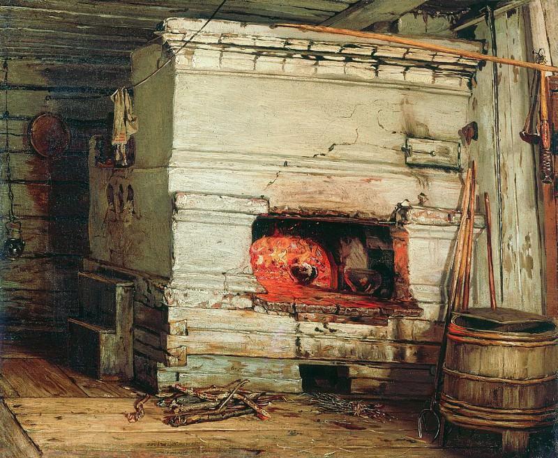 Крестьянская изба. 1869. Vasily Maksimov