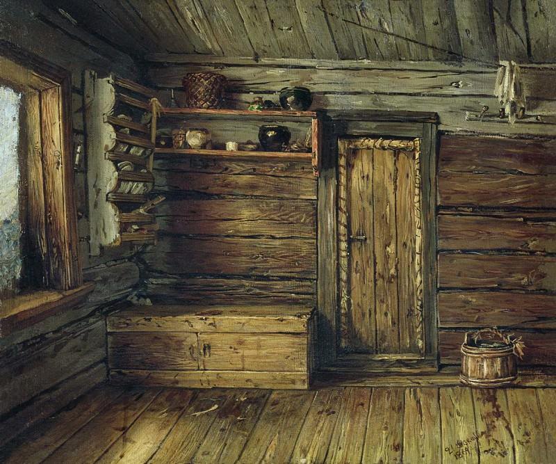 Внутренний вид избы. 1869. Василий Максимов