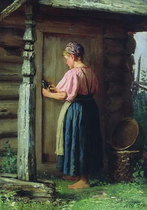Девушка у амбара. 1874. Василий Максимов