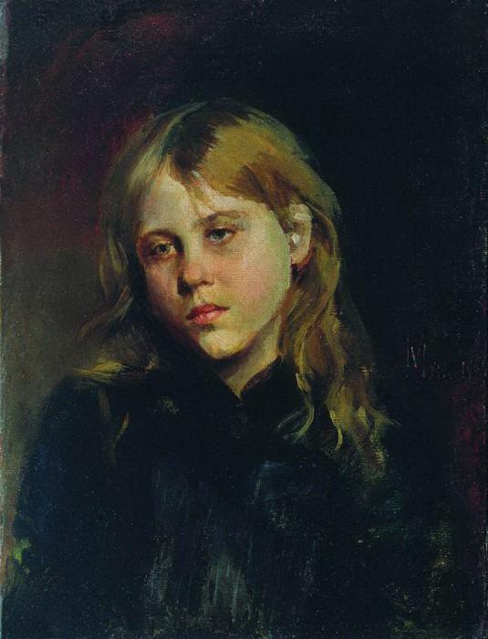 Портрет задумавшейся девушки. 1880. Vasily Maksimov