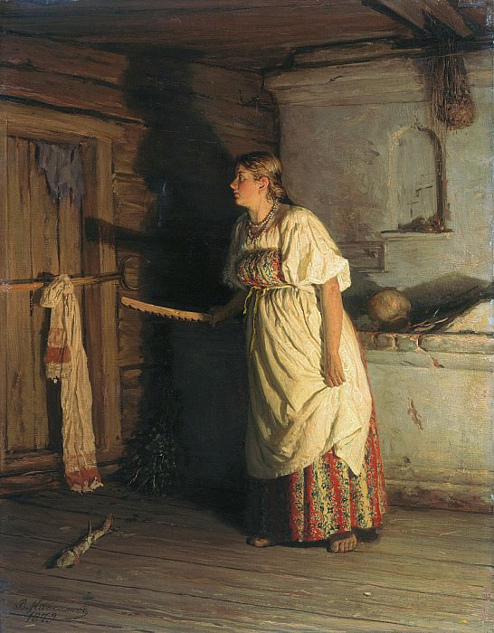 Кто там 1879 Холст масло. Василий Максимов