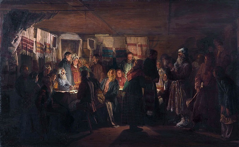 The arrival of the sorcerer at a peasant wedding. Vasily Maksimov