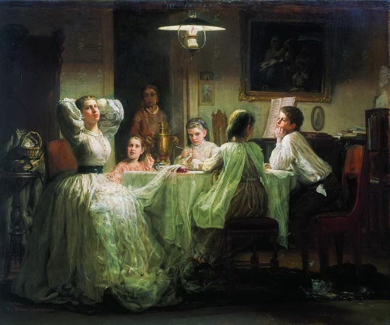Шитье приданого. 1866. Vasily Maksimov