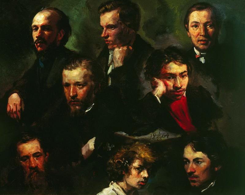 Автопортрет и портреты товарищей. 1864. Василий Максимов