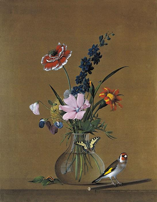 Букет цветов, бабочка и птичка. 1820. Fedor Tolstoy