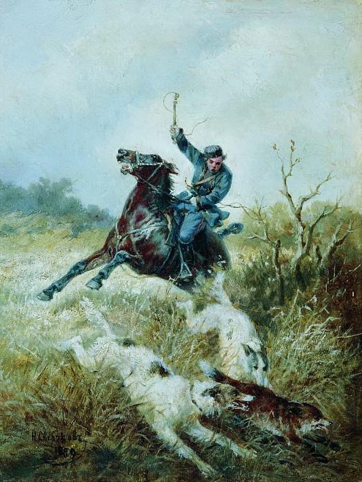 Охота с борзыми. 1889. Nikolay Sverchkov
