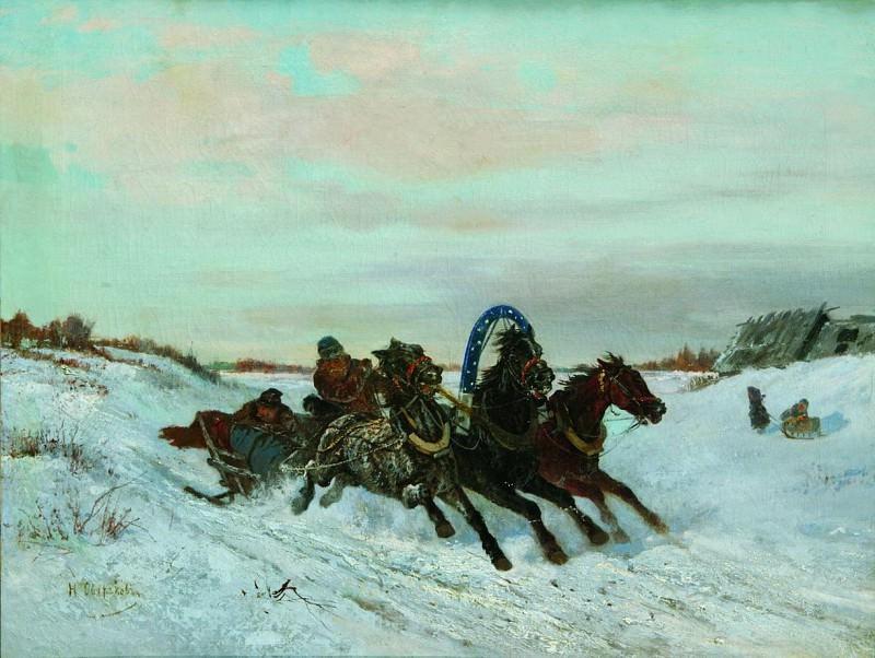 Ямская тройка на зимней дороге. 1860-1870-е. Nikolay Sverchkov