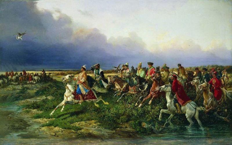 Царь Алексей Михайлович с боярами на соколиной охоте близ Москвы. 1873. Nikolay Sverchkov