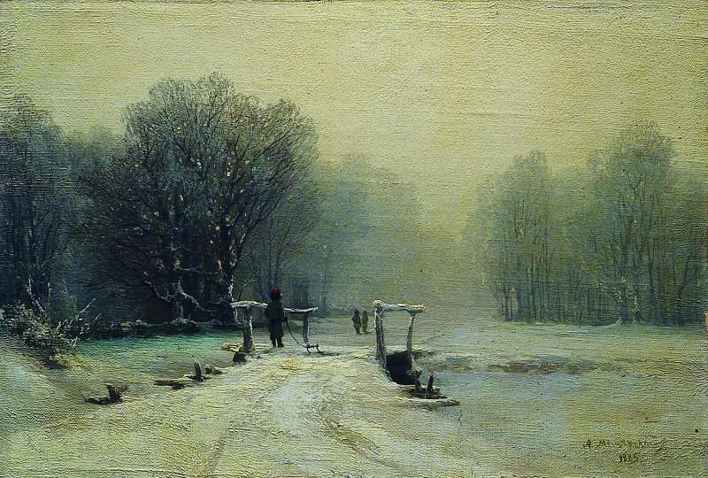 Зимний пейзаж с мостиком. 1885. Arseny Meshersky