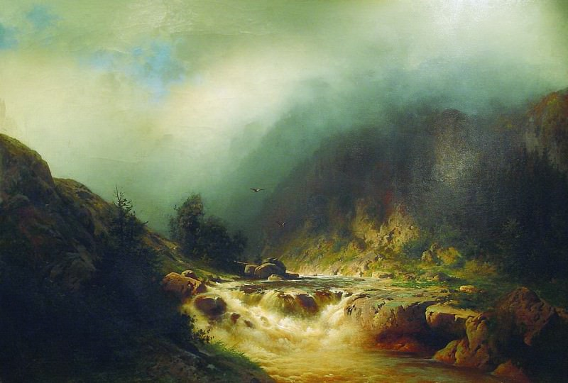 Река в горах Швейцарии. 1870-е. Арсений Мещерский