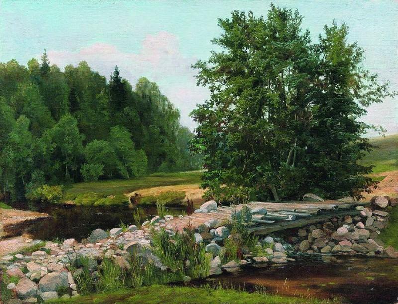 Мостик через речку. Летний день. 1890-е. Arseny Meshersky