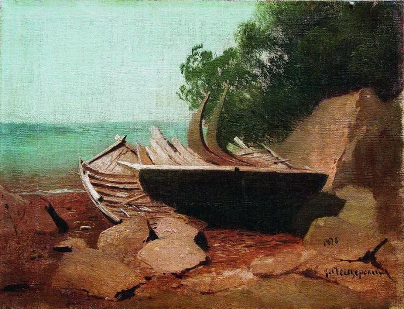 Барки на берегу. 1878. Arseny Meshersky