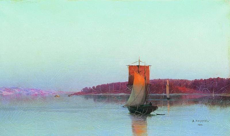 Парусное судно при солнечном закате. 1886. Арсений Мещерский