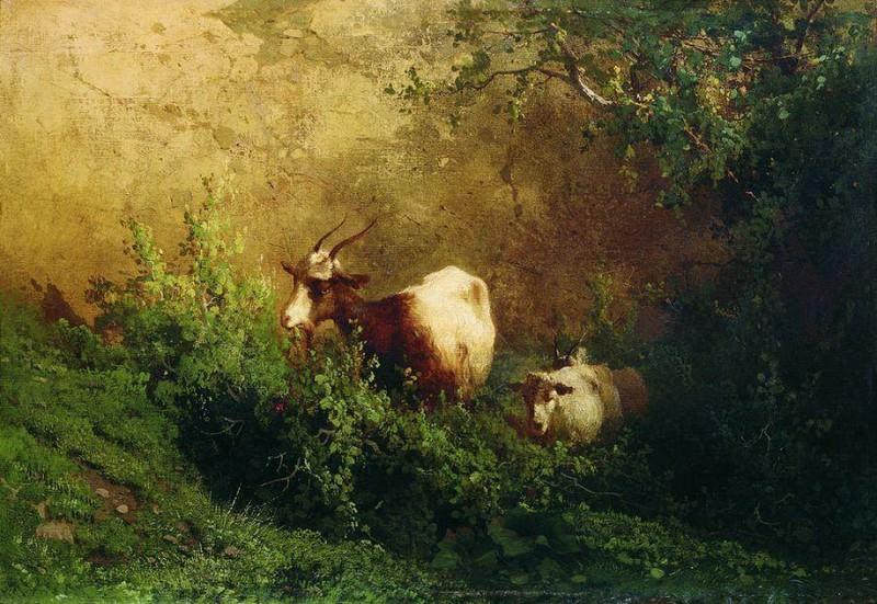 Пейзаж с козами. 1868. Arseny Meshersky
