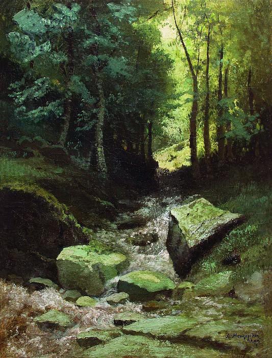Лесной пейзаж с ручьем. 1889. Arseny Meshersky