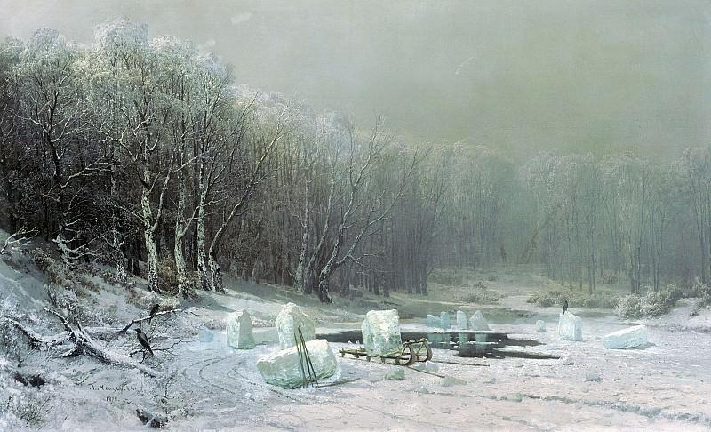 Зима Ледокол 1878 холст масло 109х177 см. Arseny Meshersky