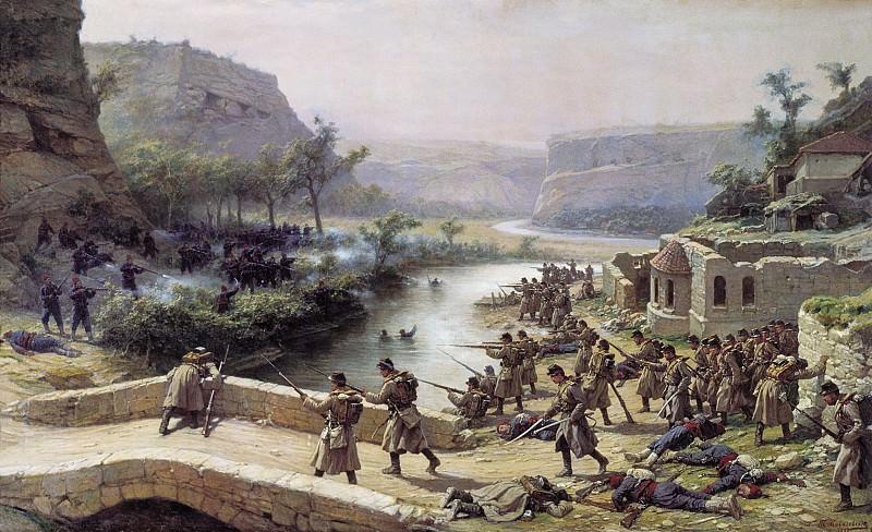 Бой у Иваново-Чифлик 2 октября 1877 года. 1887 Холст, масло. 126х207 см. Павел Ковалевский