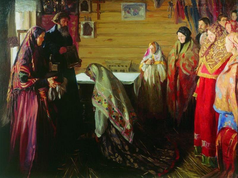 Старинный обряд благословения невесты в городе Муроме. 1909. Иван Семёнович Куликов