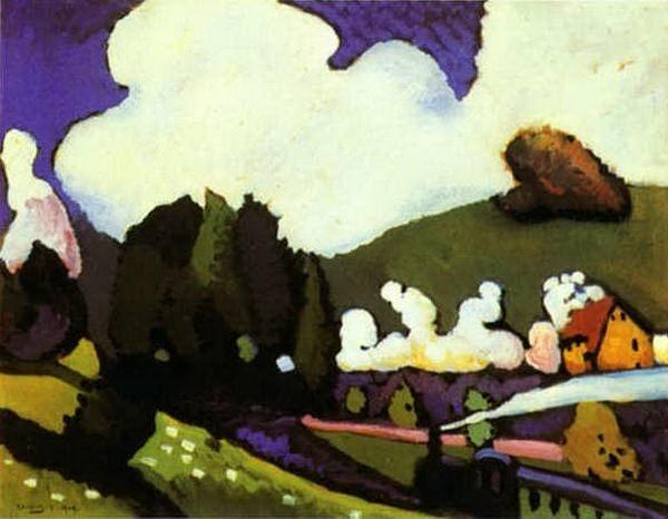 Пейзаж с паровозом. 1909. Vasily Kandinsky