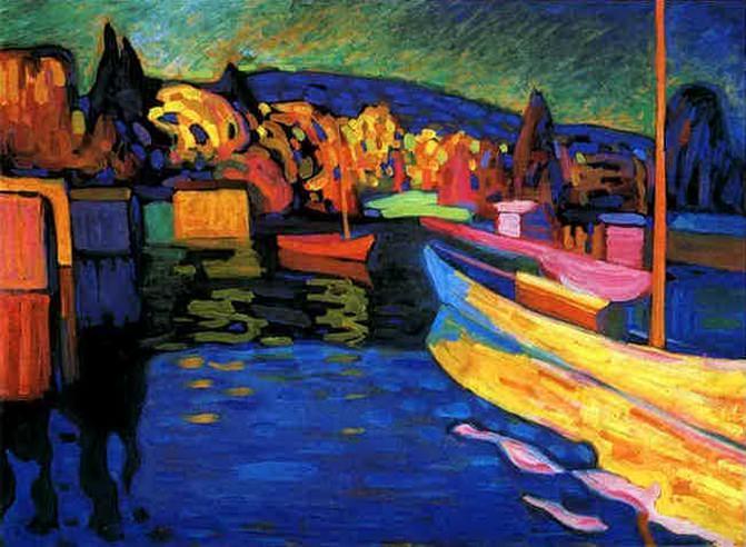 Осенний пейзаж с лодками. 1908. Vasily Kandinsky