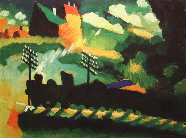 Вид Мурнау с железной дорогой и замком. 1909. Vasily Kandinsky