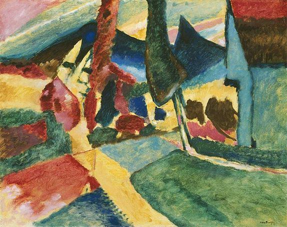 Пейзаж с двумя тополями. 1912. Vasily Kandinsky