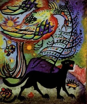 Пёс ада и Райская птица. 1911. Vasily Kandinsky