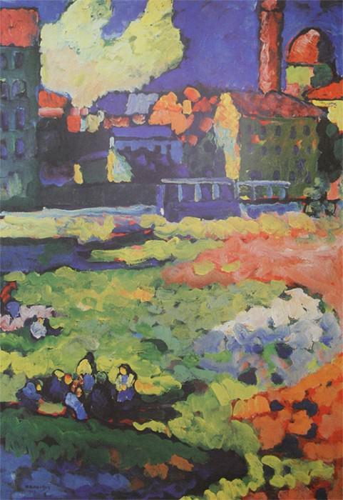 Мюнхен-Швабинг с церковью Урсулы. 1908. Vasily Kandinsky