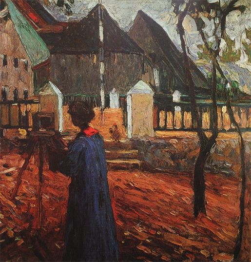 Габриэла Мюнтер за рисованием. 1903. Vasily Kandinsky