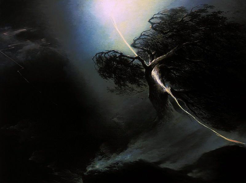 Дуб, раздробленный молнией. Аллегория на смерть жены художника. 1842. Максим Никифорович Воробьёв