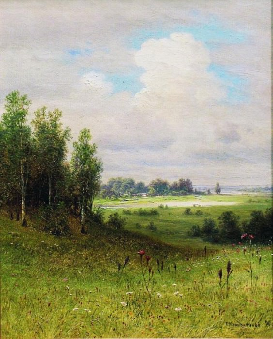 Летний пейзаж 1890 е Холст масло 31 x 22 ЧС. Gavriil Kondratenko