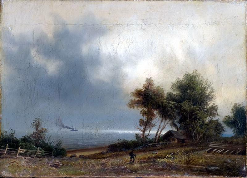 Пейзаж Хмурое утро Конец 1870 – начало 1880 х Холст масло 225 x 315 ЧС. Gavriil Kondratenko