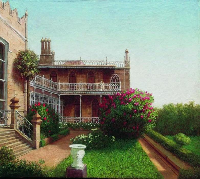Дворец в Алупке 1880–1890 е Холст масло 402 x 452 ЧС. Gavriil Kondratenko