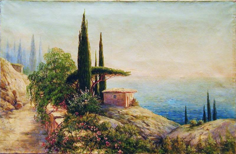 Крымский пейзаж с саклей 1910 е Холст масло 585 x 88 ЧС. Gavriil Kondratenko