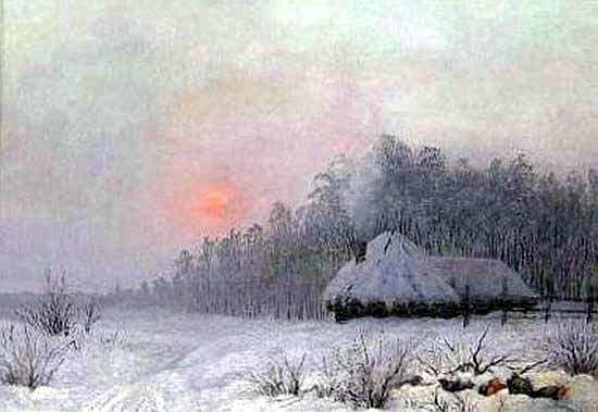 Зимний пейзаж с хутором у леса. Gavriil Kondratenko