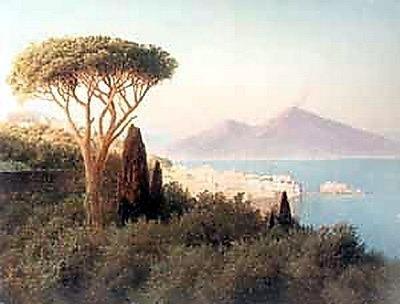 Итальянский пейзаж с видом на Везувий 1898 2. Гавриил Павлович Кондратенко
