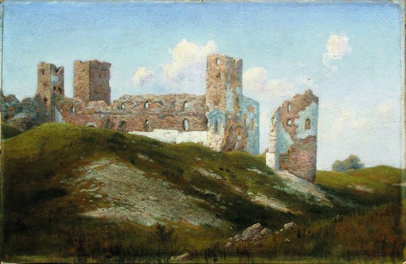 Развалины Старая крепость Замок Везенберг ныне Раквере 1890 е Картон масло 358 x 54 ЧС. Gavriil Kondratenko