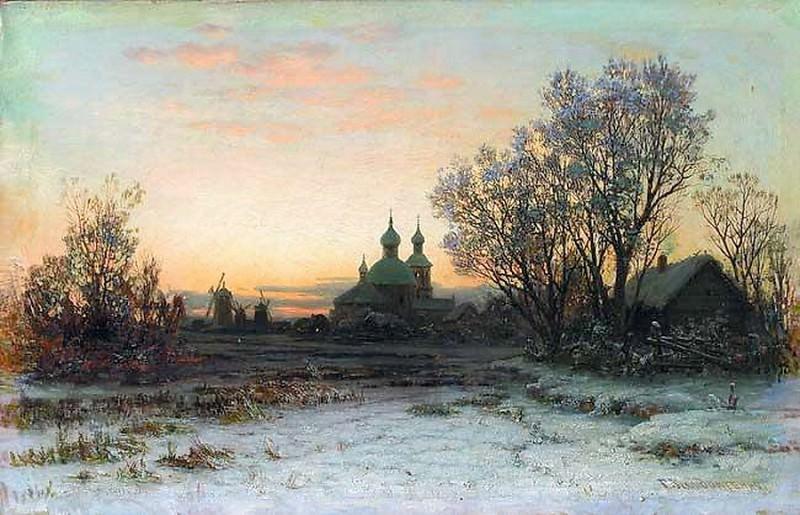 Зимний пейзаж с церковью 1880 е Холст масло 312 x 484 ЧС. Gavriil Kondratenko