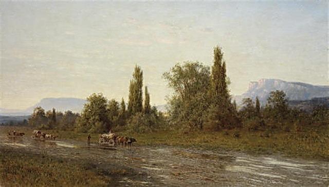 Повозка на фоне Крымского пейзажа 1890 Х м 787x134. Gavriil Kondratenko