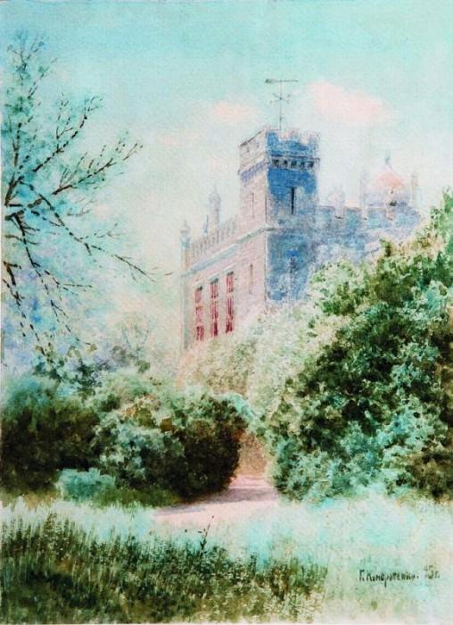 Дворец в Крыму 1895 Бумага акварель ЧС. Gavriil Kondratenko