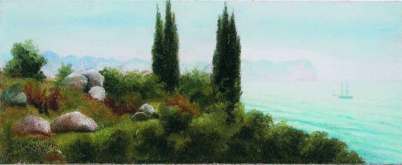 Крымский пейзаж с кипарисами Картон масло 92 x 232 ЧС. Gavriil Kondratenko