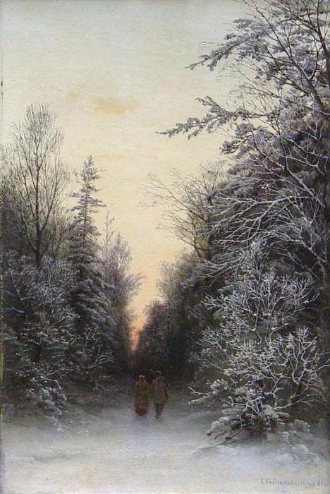 В зимнем лесу 1888 Холст масло 443 x 28 ЧС. Gavriil Kondratenko