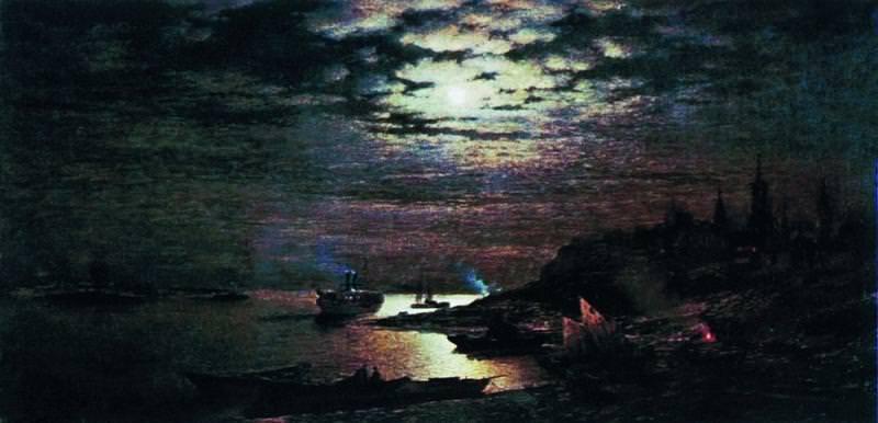 Лунная ночь Конец XIX века Холст масло 72 x 141 Пенза. Gavriil Kondratenko