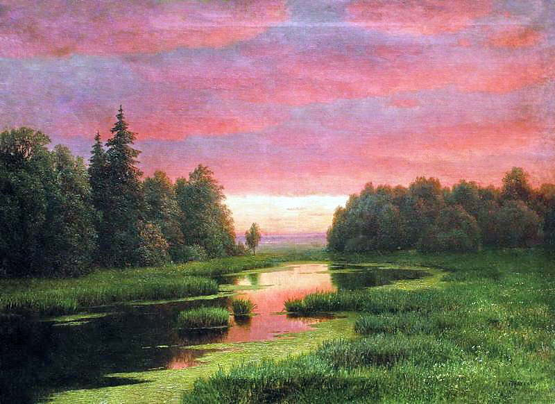 Закат над рекой Начало 1880 х Холст масло 68 x 934 ЧС. Gavriil Kondratenko