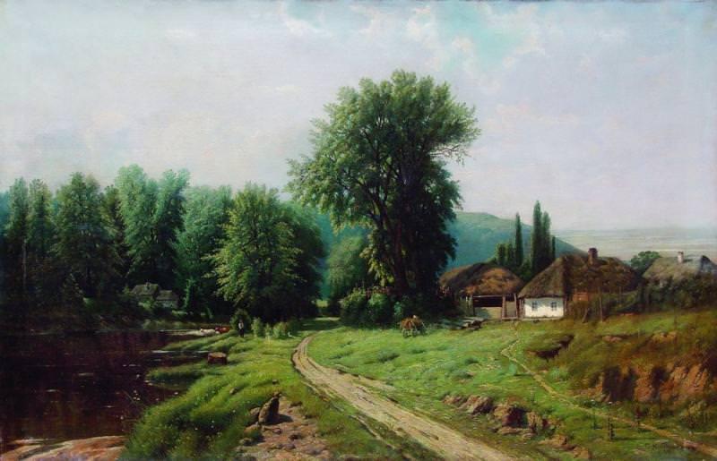 Сельский пейзаж 1880 е Холст масло 75 x 1155 ЧС Копия с Крыжицкого q. Gavriil Kondratenko