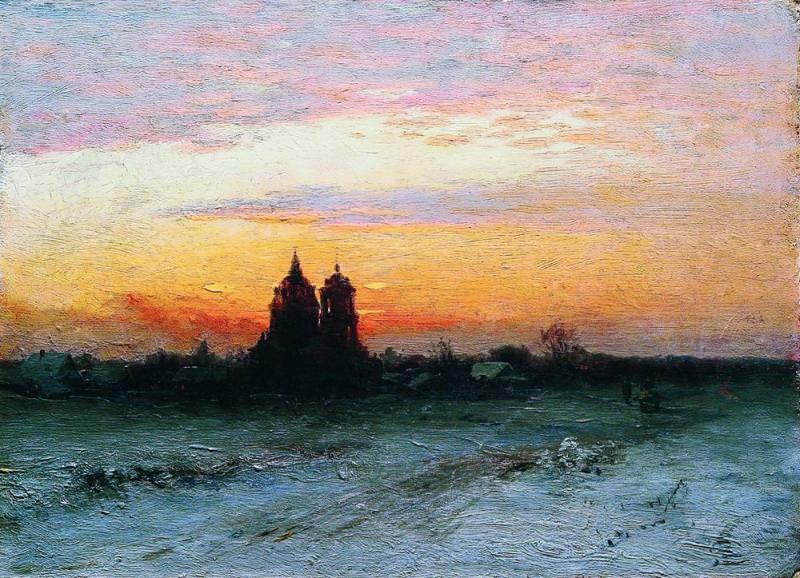 Зимний пейзаж 1890 Картон масло 255 x 345 ЧС. Gavriil Kondratenko
