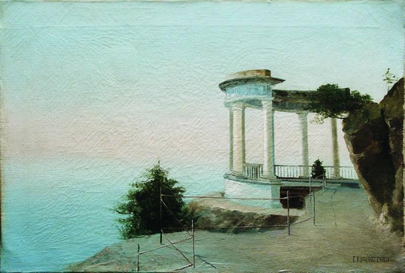 Крым Старая ротонда 1890 е Холст масло 355 x 525 ЧС. Gavriil Kondratenko