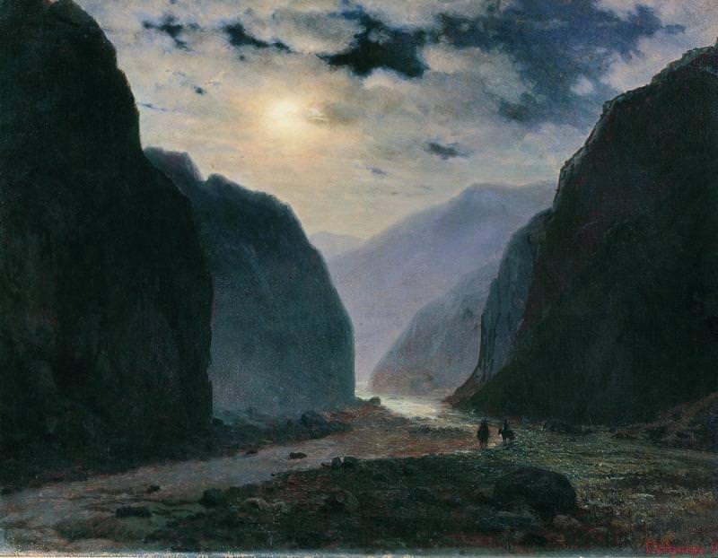 Лунная ночь в горах 1881 Холст масло 50 x 62 Владикавказ. Gavriil Kondratenko