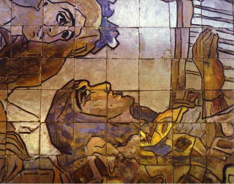 Tile panel on the Hotel Methropol. Detail. Mikhail Vrubel
