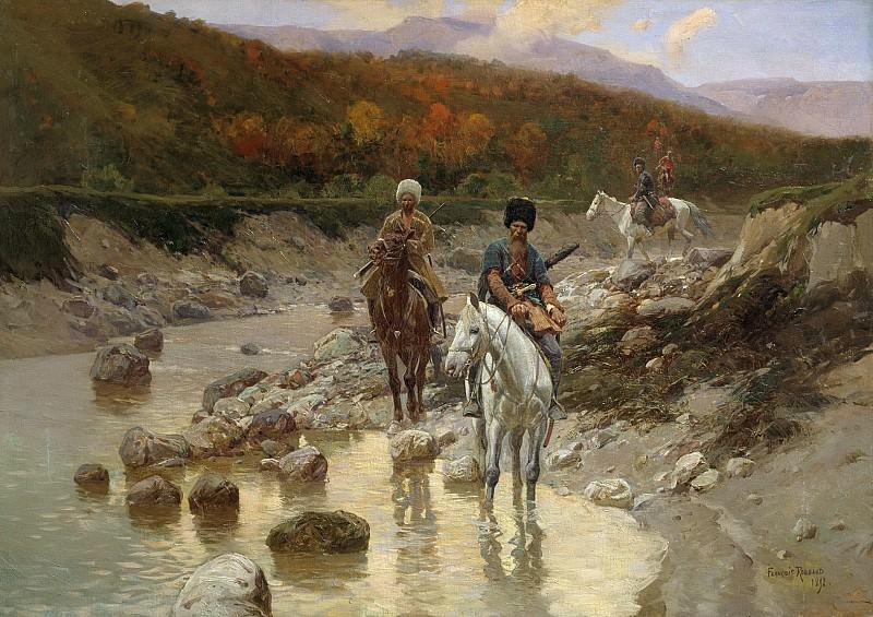 Казаки у горной речки 1892 Холст масло. Franz Roubaix